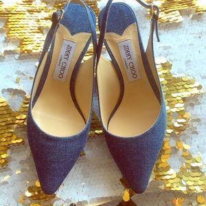 Jimmy Choo denim blue sling back heels